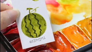 캘리그라피 수채화 과일 수박 일러스트 그림그리기