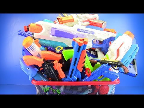 BOX OF TOYS with Colored Toy Guns !!! Gun toys video for kids