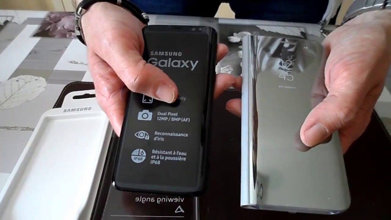etui samsung clear view galaxy s8 argent unboxing. Black Bedroom Furniture Sets. Home Design Ideas