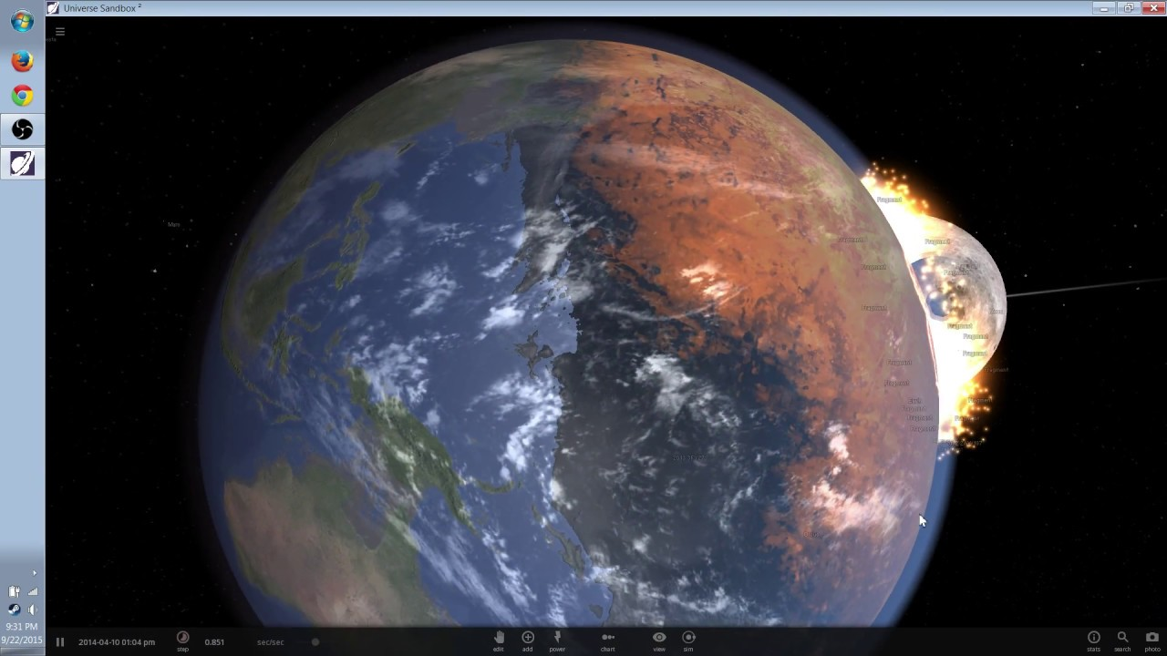 Universe Sandbox 2 - Moon Crashing into Earth (Real Time) Up Close