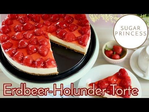 🍓Leckere, schnelle Erdbeer-Holunderblüten-Torte OHNE Backen: Super einfach! Rezept von Sugarprincess