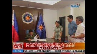 UB: Pang. Duterte, abala para sa paghahanda ng kanyang talumpati para sa SONA 2017