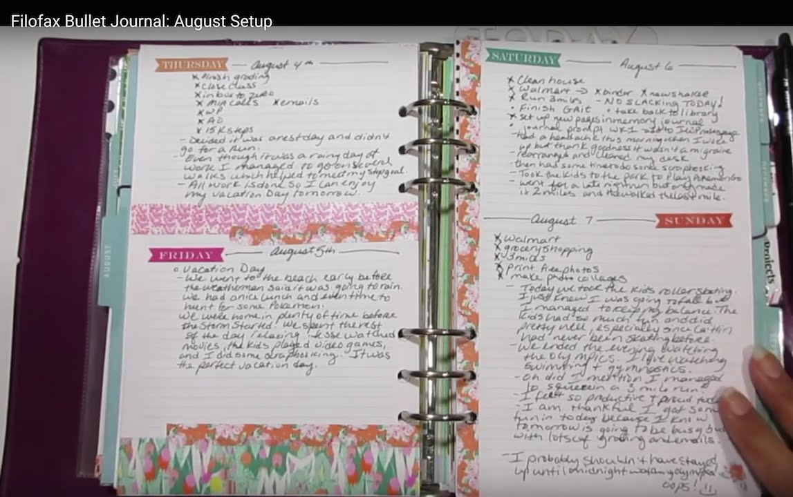 filofax bullet journal august setup youtube. Black Bedroom Furniture Sets. Home Design Ideas