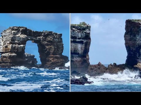 Natural erosion causes collapse of Darwin's Arch in the Galapagos Islands