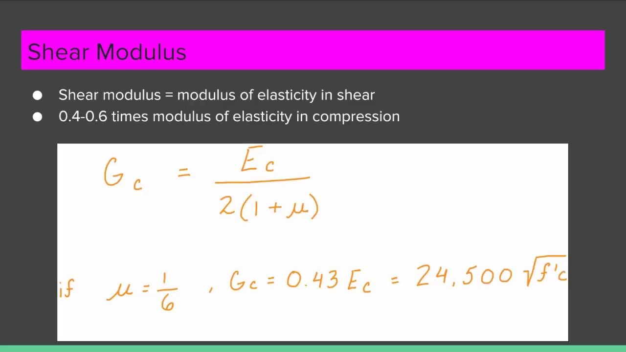 19 Shear Modulus Of Concrete Youtube