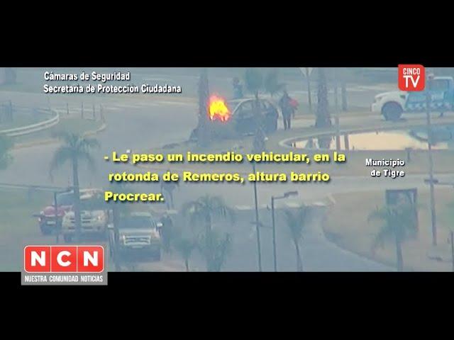CINCO TV - El Sistema de Protección Ciudadana de Tigre logró controlar un feroz incendio vehicular