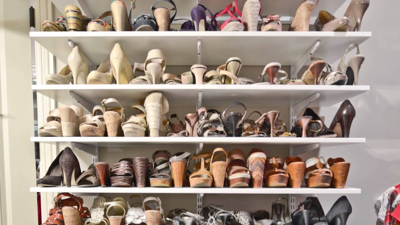 How To Organize A Womanu0027s Master Closet Shoe Storage | OrganizedLiving.com    YouTube