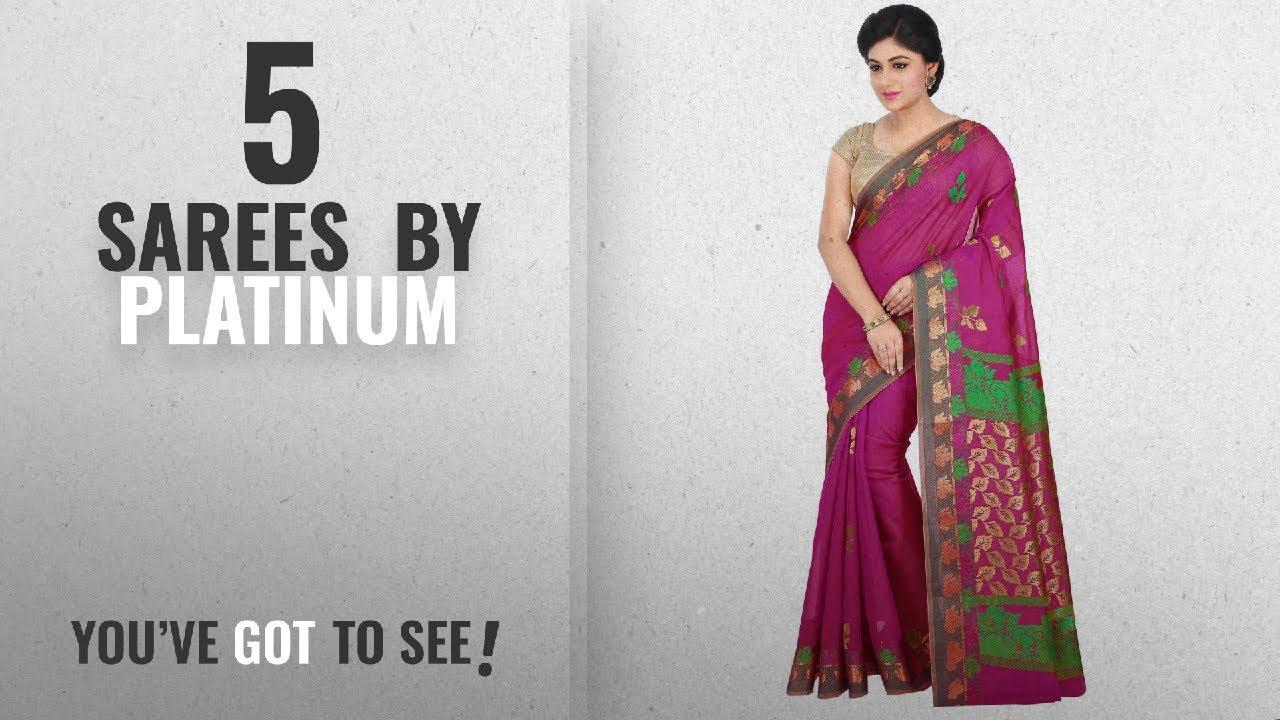316e5cd290 Top 10 Platinum Sarees [2018]: Platinum Magenta Floral Cotton Silk Saree  With Blouse Piece