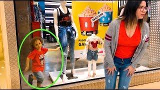 Cadu and Mama pretend play hide and seek in departament toy store