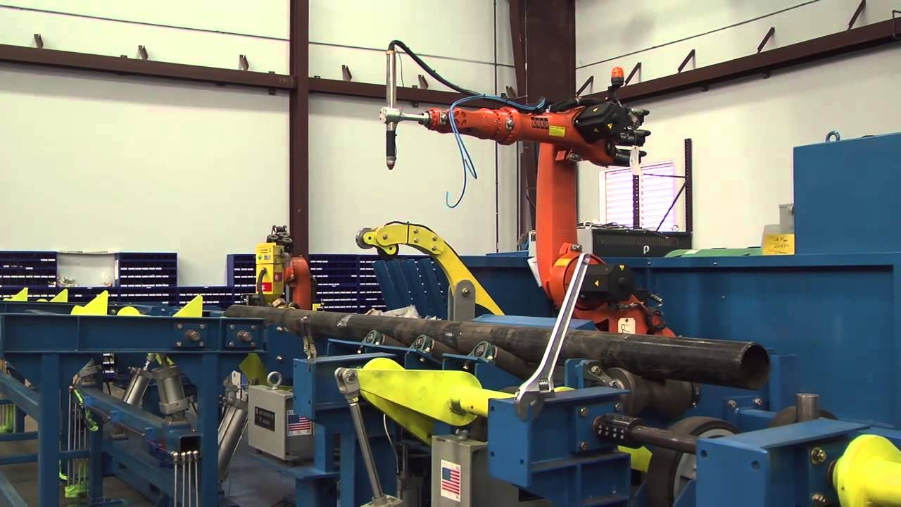 Robotic Plasma Cutting System With Conveyor For Pipe Youtube