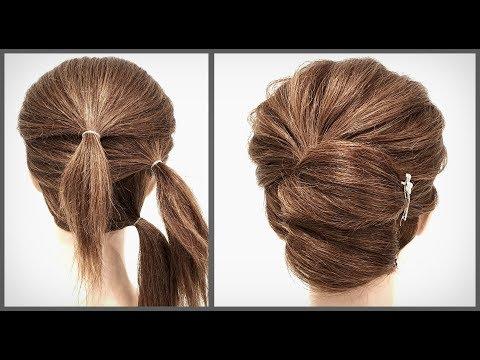 Простая и Быстрая прическа для коротких волос.Красивые прически пошагово. Fast hairstyle for short thumbnail