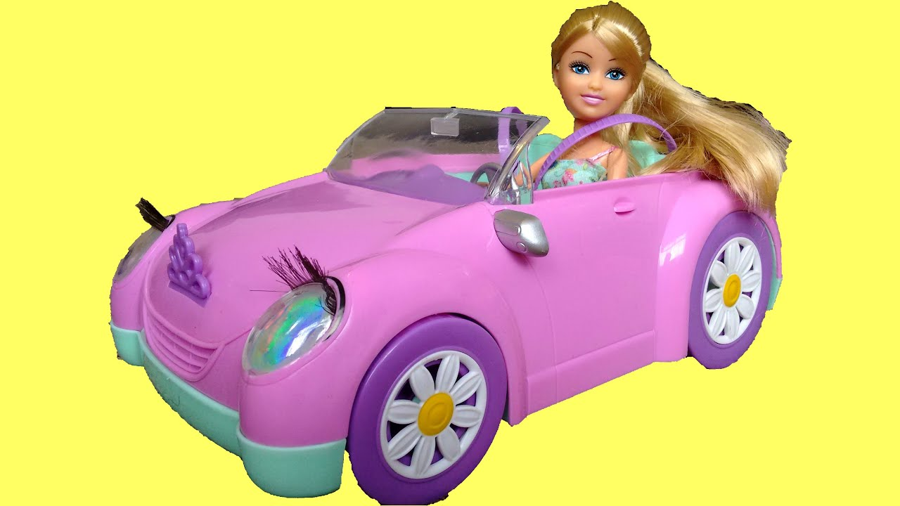 pink sparkle girls car surprise unboxing playtime funville barbie toy car kids fun review