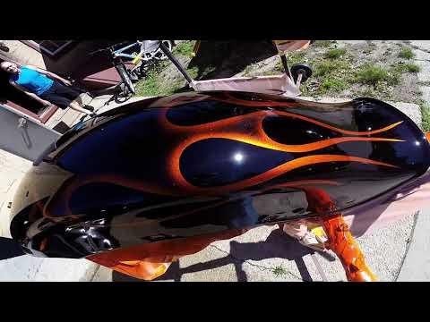 Painting flames on Harley Davidson tank & fenders Gopro Hero 3+