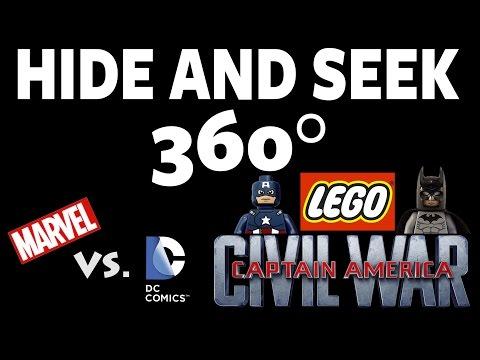 Lego Captain America Civil War / Marvel vs. DC Game! Hide and Seek 360 - #4 #360Video