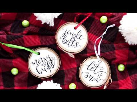 DIY Hand Lettered Ornaments - Wood Slice Ornament Idea