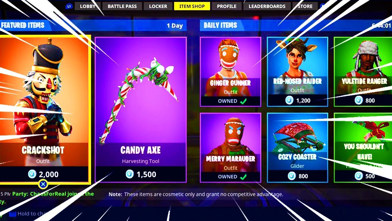 All Christmas Skins Return To Fortnite Item Shop Season 5 Merry
