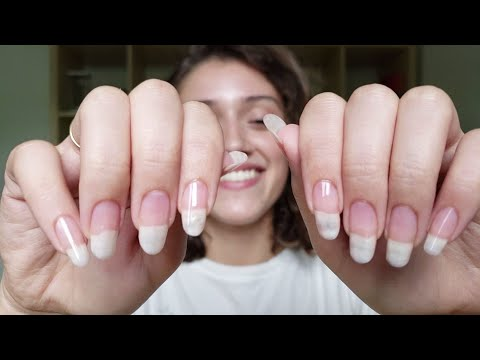 ASMR Natural Nails ⚘ Simple Care Routine   Tapping, Flutters, Whispers