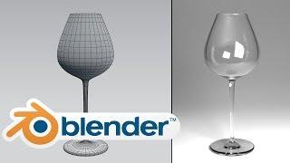 Model a wine glass. Beginner, HD