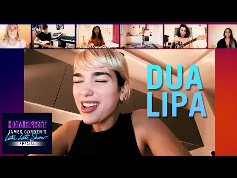 "Dua Lipa Performs ""Don't Start Now"" w/ Friends on Video Chat - #HomeFest"