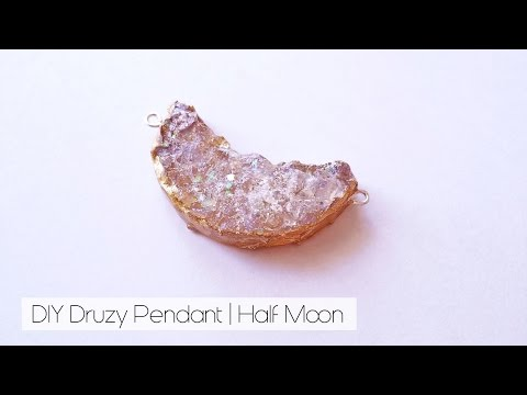 DIY Druzy Half Moon Pendant | How to make faux druzy pendant