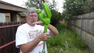 Greenworks Gmax Hedge Trimmer used as a field weed cutter.