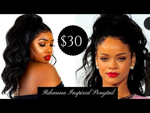 Rihanna Inspired High Ponytail on $30 Wig!| ft. Divatress.com and Bobbi Boss