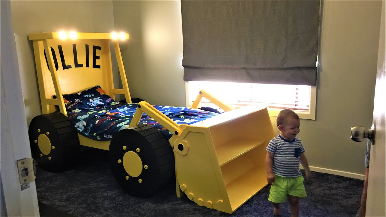 Nice Kids Beds, Building A Loader Tractor Bed With Headlights, Boys Bedroom  Design, Woodworking Projects