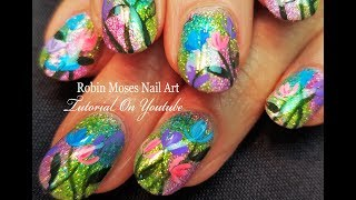 Ombre Holo Glitter with Flowers Nails   Easy Nail Art Design Tutorial