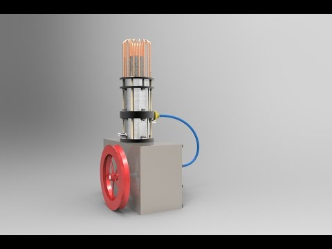 Stirling engine Solidworks animation.