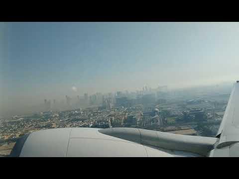 Emirates Dubai to Newcastle. Taxi, take off and landing.