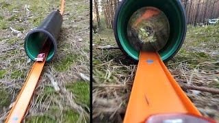 Длинный трек Хот Вилс с туннелями. Hot Wheels road trip, outdoor long track with tunnels