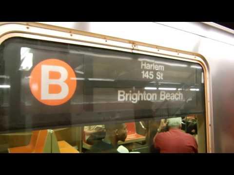 NYC Subway: (A),(B),(D),(E),(F) and (M) train action at 47-50 St Rockefeller Center