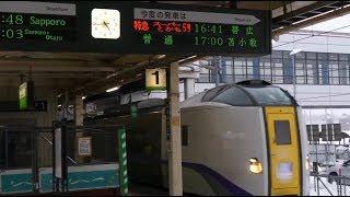 南千歳駅 快速エアポート160号発車&特急スーパーとかち5号到着 733系&キハ261系 JR Hokkaido Minami-Chitose Station