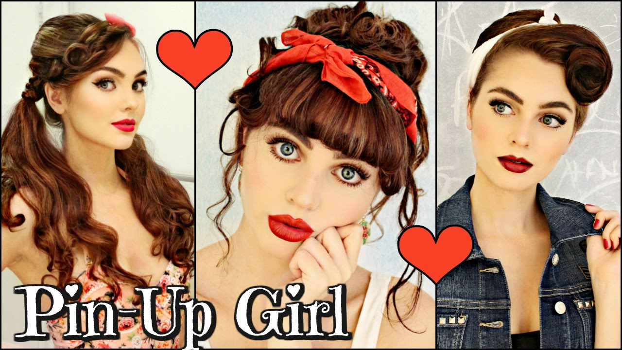 3 Vintageretro Pin Up Girl Hairstyles 1940 50s Youtube