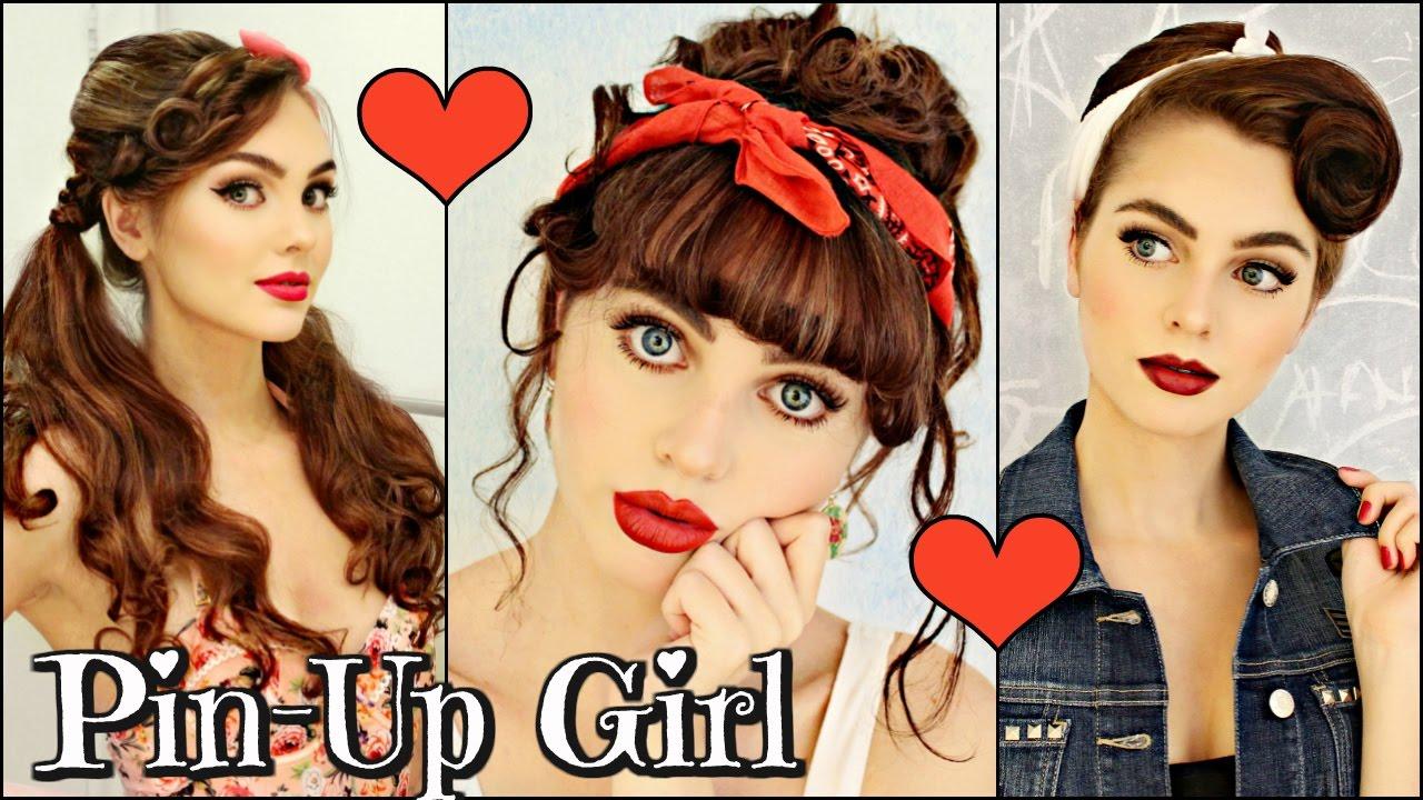 3 vintage retro pin girl hairstyles