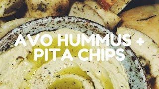 Avocado Hummus with Baked Pita Chips