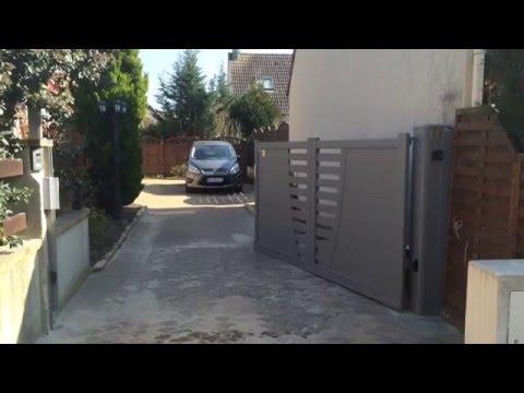 Portail aluminium 1 Vantail Motorisé à Grigny (91).
