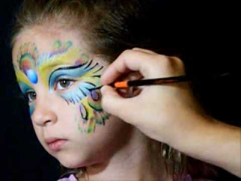 peacock face paint with jest paint  youtube