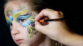 Peacock Face Paint with Jest Paint