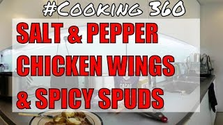 instant pot and Air Fryer salt and pepper Iceland chicken wings and mini spicy spuds 360 4K Video