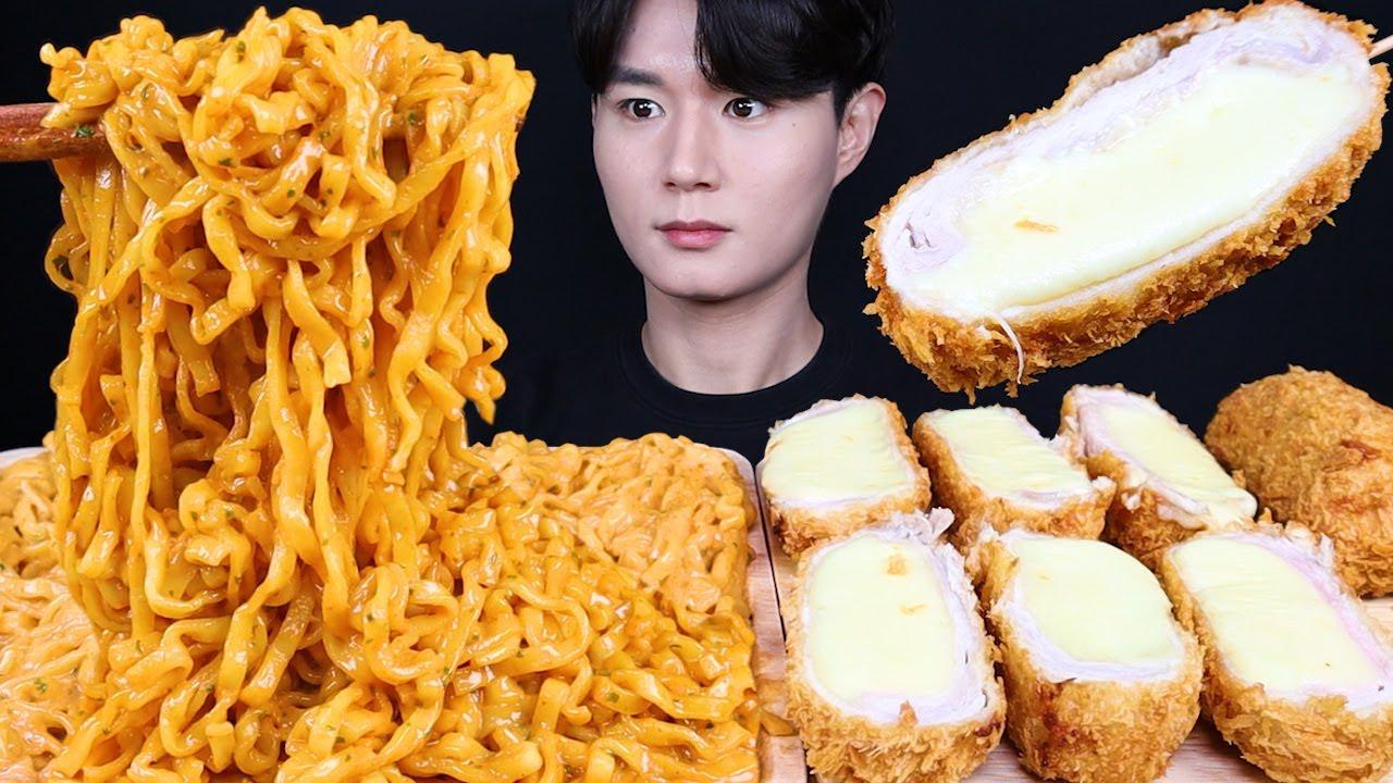 치즈 돈까스 까르보 불닭볶음면 먹방ASMR MUKBANG CHEESE PORK CUTLET & SPICY FIRE NOODLES チーズとんかつ eating sounds