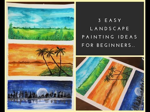 3 easy landscape painting ideas using acrylics for beginners | Step by step tutorial for painting