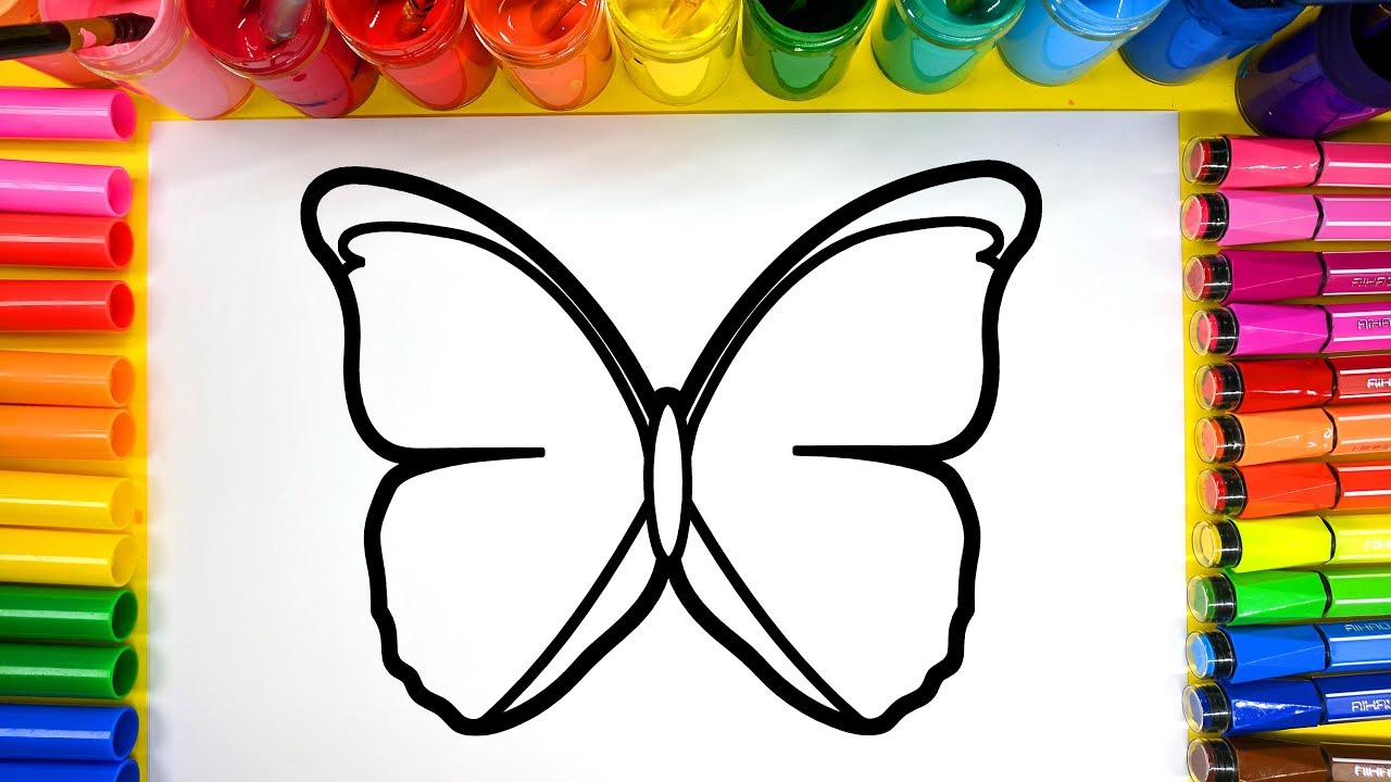 painting a butterfly painting pages for children to learn to