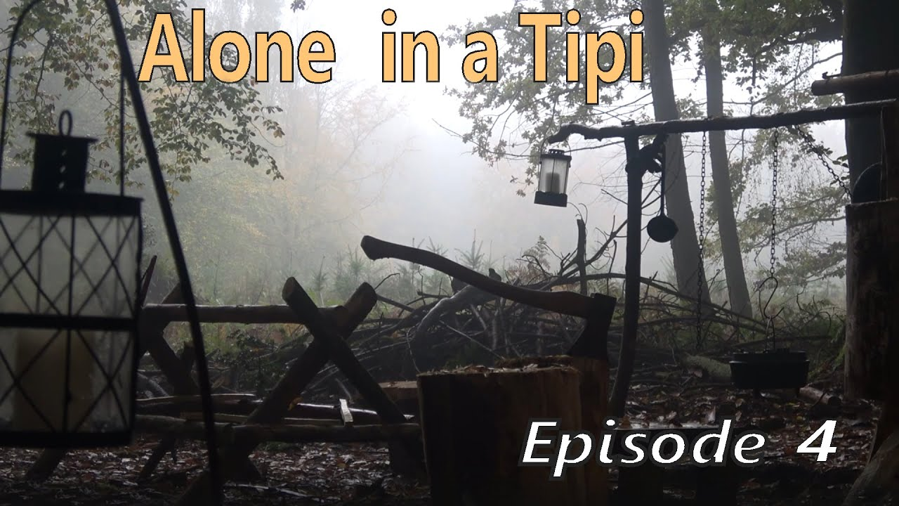 ALONE IN A TIPI - EP4 | Lean To Shelter, Spit Roast Chicken