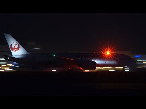 ✈✈(Night View)夜の羽田空港 「JALドラえもんJET」Boeing 787 Dreamliner  Landing Haneda RWY22 羽田空港!!京浜島