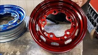 Powder Coating Paint, Custom Blue Candy & Custom Red Candy on Classic VW Wheels, kingstonpowdercoati