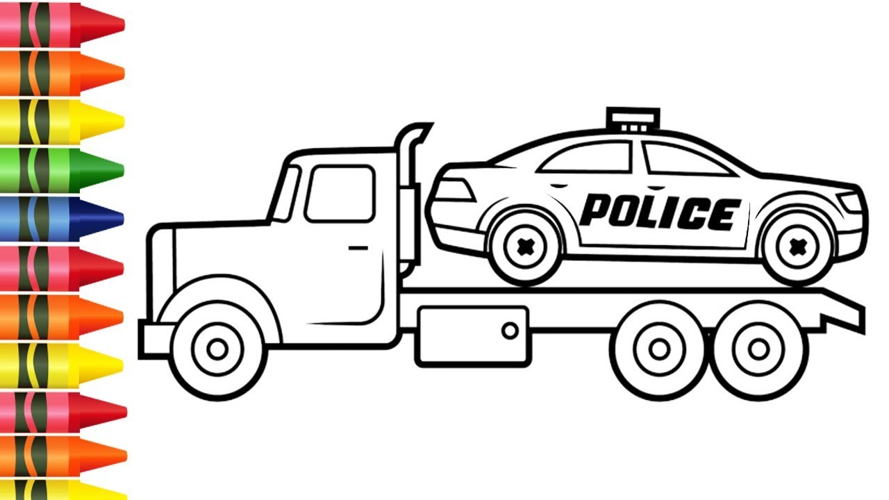 Colorir Desenhos De Caminhao E Carro De Policia Para Pintar