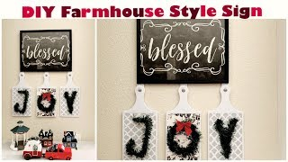 Dollar Tree DIY Farmhouse Winter Decor || Rustic Blessed Joy Sign || Repurposed Project