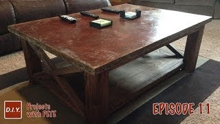 How To Make A Concrete Coffee Table With A Trowel Finish And Acid Stain - Episode 11