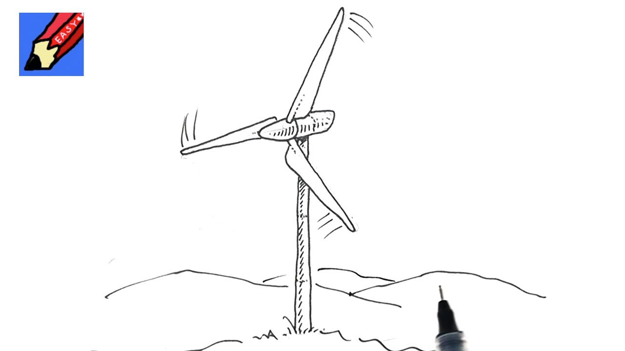 how to draw a wind turbine real easy youtube